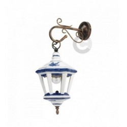 Lantern Wall Light - Coppered Iron and Ceramic - Blue Floral Decor