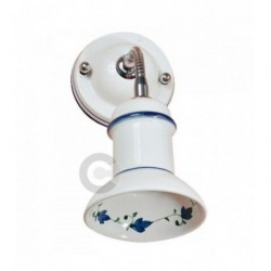 Applique flessibile in metallo cromato e ceramica, decoro floreale blu - 100% Made in Italy