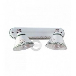 Two Lights Light Strip with Junction - Chromed Metal and Ceramic - Green Decor