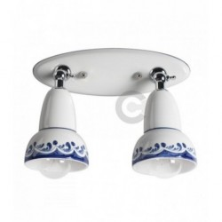 Reglette 2 luci con snodo, in metallo cromato e ceramica, decoro blu – 100% Made in Italy