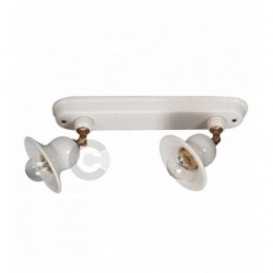Two Lights Light Strip with Junction - Brushed Burnished Metal and Ceramic - Idea Decor