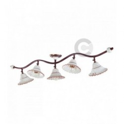 Ceiling Lamp - Brushed Burnished Iron and Ceramic 5 lights Branch, Tuscany Decor