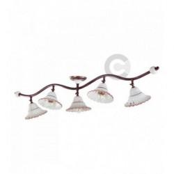 Plafonnier branche 5 lumières en fer bruni brossé et céramique, motif Toscane – 100% Made in Italy