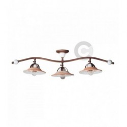 Ceiling Lamp - Brushed Burnished Iron and Ceramic 3 lights Branch - Convivium Decor