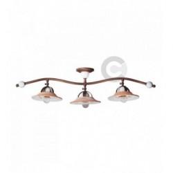 Plafonnier branche 3 lumières en fer bruni et céramique, motif Convivio – 100% Made in Italy