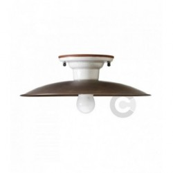 Plafoniera in ferro brunito, ceramica e piatto in ottone, decoro Faro - 100% Made in Italy